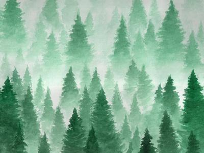 Artwork. Background Painted with Watercolor. Hand Drawn Landscape of Foggy Forest, Winter Hill. Wil