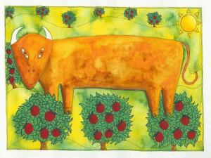 Bull in Field, 1992 by Julie Nicholls