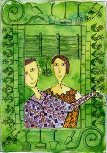 Gardening, 1990 by Julie Nicholls