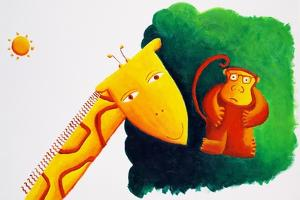 Giraffe and Monkey, 2002 by Julie Nicholls