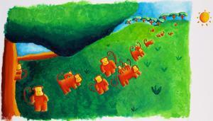 Monkeys Leaving Tree, 2002 by Julie Nicholls