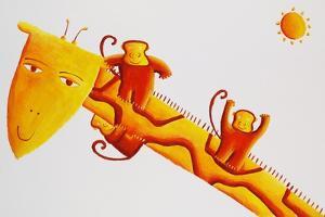 Monkeys Sliding Down Giraffe's Neck, 2002 by Julie Nicholls