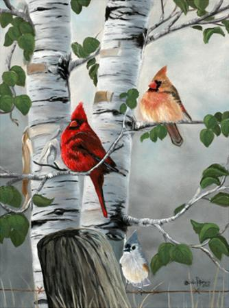 Cardinals and Titmouse by Julie Peterson