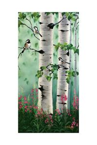 Chickadees in the Birch Trees by Julie Peterson