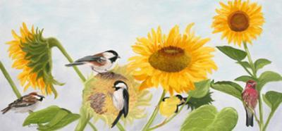 Sunflowers and Birds by Julie Peterson