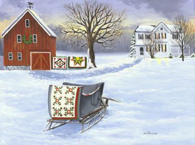 Winter Sleigh and Quilts by Julie Peterson