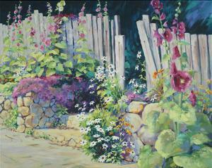 Hollyhock Garden by Julie Pollard