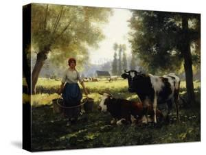 A Milkmaid with Her Cows on a Summer Day by Julien Dupre