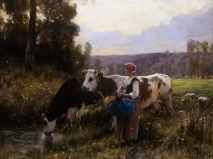 Cows at the Watering Hole by Julien Dupre