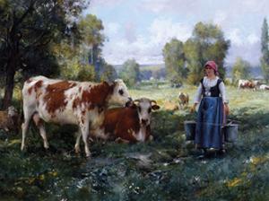 Laitiere Gardant ses Vaches by Julien Dupre