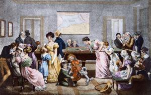 A Billiard Room in the nineteenth century, 1828 by Julien Leopold Boilly