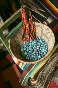 Basket Containing Round Turquoise Beads, Santa Fe, New Mexico, USA by Julien McRoberts
