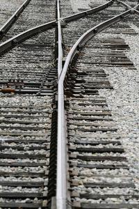 Close Up of Railroad Tracks, Santa Fe, New Mexico, USA by Julien McRoberts