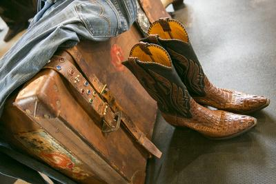 Cowboy Snakeskin Boots and an Antique Suitcase, Santa Fe, New Mexico