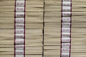 Prints of Money at the Mob Museum, Las Vegas, Nevada. Usa by Julien McRoberts