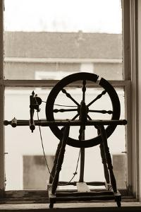 Spinning Wheel in a Window, Wilmington, Illinois, USA. Route 66 by Julien McRoberts