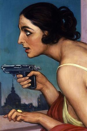 La Mujer De La Pistola 1925-Cartel Para La Union Española De Explosivos