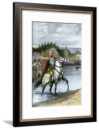 Julius Caesar Crossing the Rubicon to Begin a Civil War Against Pompey, 49 Bc--Framed Giclee Print