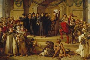 Martin Luther Ninety-Five Theses Being Nailed to the Door of Wittenberg Church by Julius Hübner