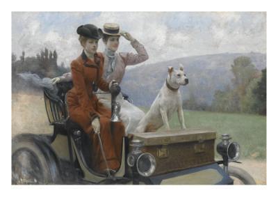 Les Dames Goldsmith au bois de Boulogne en 1897 sur une voiturette Peugeot.