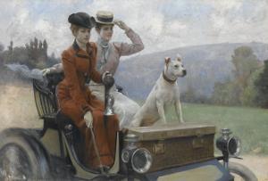 Les Dames Goldsmith au bois de Boulogne en 1897 sur une voiturette Peugeot. by Julius Leblanc Stewart