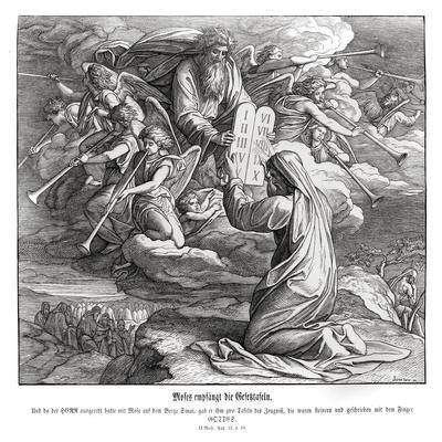 Moses receives the commandments, Exodus