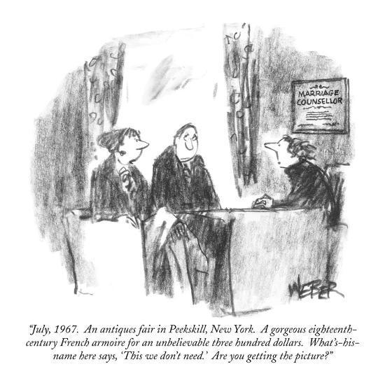 """""""July, 1967.  An antiques fair in Peekskill, New York.  A gorgeous eightee…"""" - New Yorker Cartoon-Robert Weber-Premium Giclee Print"""