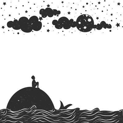 Cute Romantic Vector Illustration with Man Silhouette Sitting on a Whale and Looking at the Moon. I