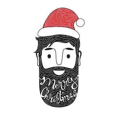 Merry Christmas Hand Drawn Style Illustration with Man Head and Lettering Text. Holiday Typography