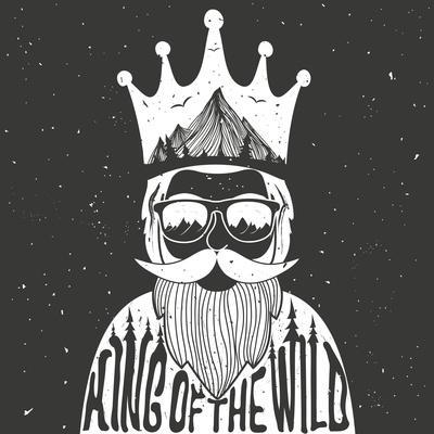 Vector Hand Drawn Style Typography Poster. A Man with Crown, Mountains and Trees Inside. King of Th