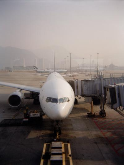 Jumbo Airplane Parked on the Tarmac at the Airport in Hong Kong-xPacifica-Photographic Print
