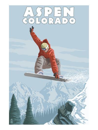 Jumping Snowboarder - Aspen, Colorado-Lantern Press-Art Print