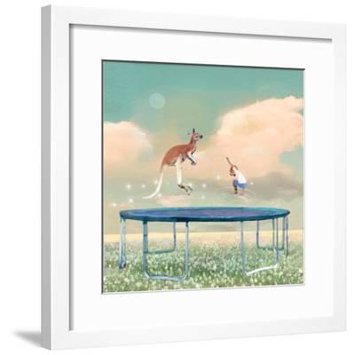 Jumping With Kangaroo-Nancy Tillman-Framed Art Print