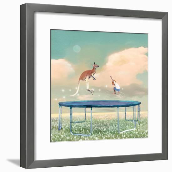 Jumping With Kangaroo-Nancy Tillman-Framed Art Print