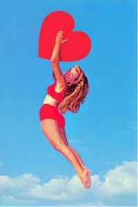 Jumping Woman with Red Heart