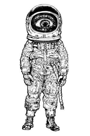 Amazement Astronaut. Vector Illustration