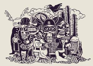 Crazy Persons, Bikers, Skulls and Cactus. Vector Illustration. by jumpingsack