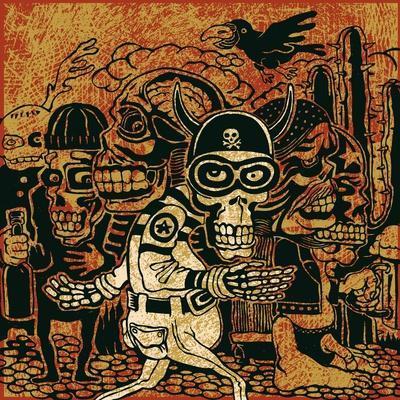Crazy Persons, Bikers, Skulls and Cactus. Vector Illustration.