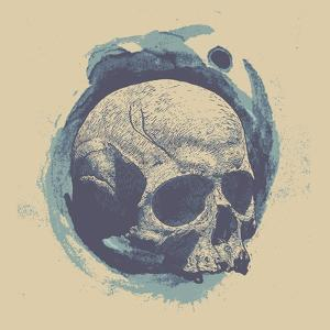 Design for Poster or T-Shirt Print with Skull and Circle Grunge Textures. Vector Illustration by jumpingsack