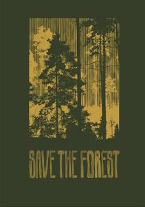 Design save the Forest for T-Shirt Print with Silhouettes of Coniferous Forest. Vector Illustration by jumpingsack