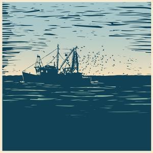 Fishing Schooner, Sea and Sea Gulls. Linocut Style. Vector Illustration by jumpingsack
