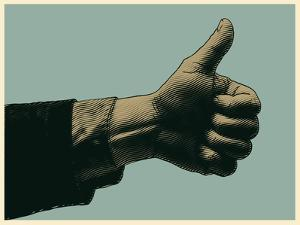 Halftone Thumbs up Symbol. Engraved Style. Vector Illustration by jumpingsack