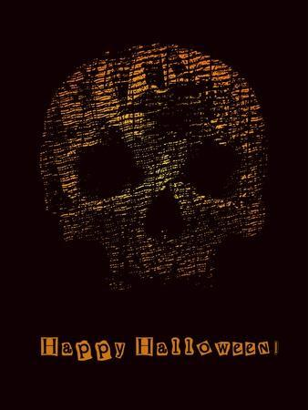 Halloween Poster with Skull. Vector Illustration.