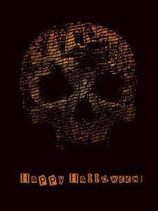 Halloween Poster with Skull. Vector Illustration. by jumpingsack