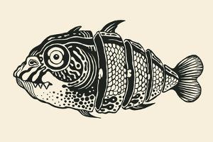Hand Drawn Fish Cut into Slices, Design Element. Vector Illustration. by jumpingsack