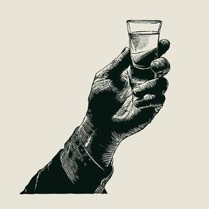 Male Hand Holding a Shot of Alcohol Drink. Hand Drawn Design Element. Engraving Style. Vector Illus by jumpingsack