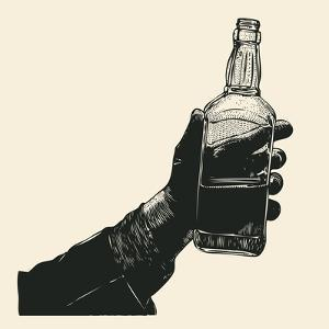 Male Hand Holding Bottle of Whiskey. Hand Drawn Design Element. Engraving Style. Vector Illustratio by jumpingsack