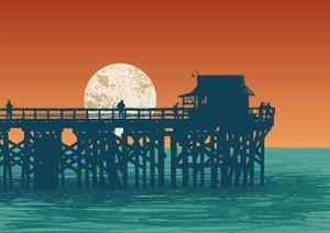 Oceanic View with Silhouette Pier and Full Moon. Vector Illustration. by jumpingsack