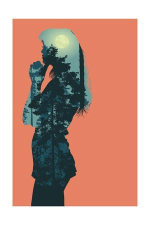 Silhouette of Girl and Forest with Full Moon