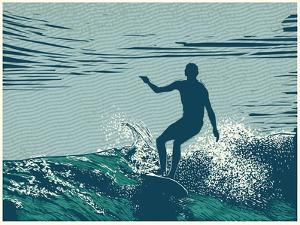 Silhouette Surfer and Big Wave by jumpingsack